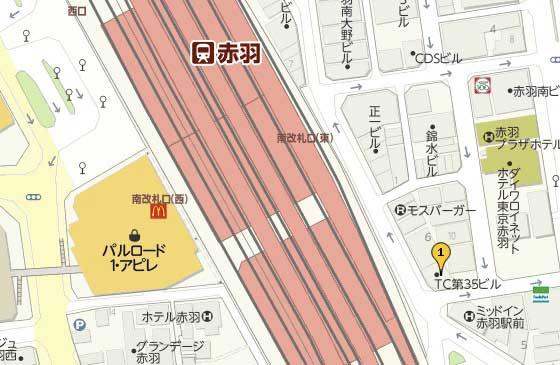 赤羽駅のホットヨガマップ