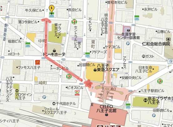 LAVA八王子店のアクセスマップ
