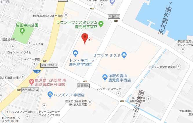 鹿児島のホットヨガ情報でLAVAスクエアモール鹿児島宇宿店の地図