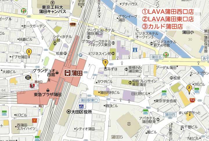 蒲田のホットヨガマップ
