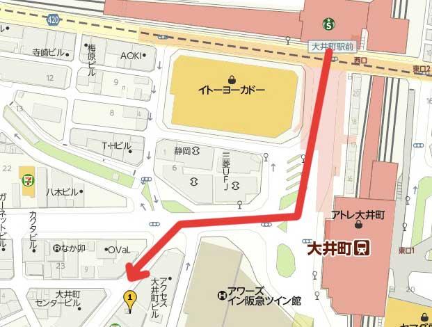 大井町駅のホットヨガマップ