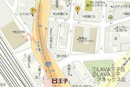 王子駅のホットヨガマップ