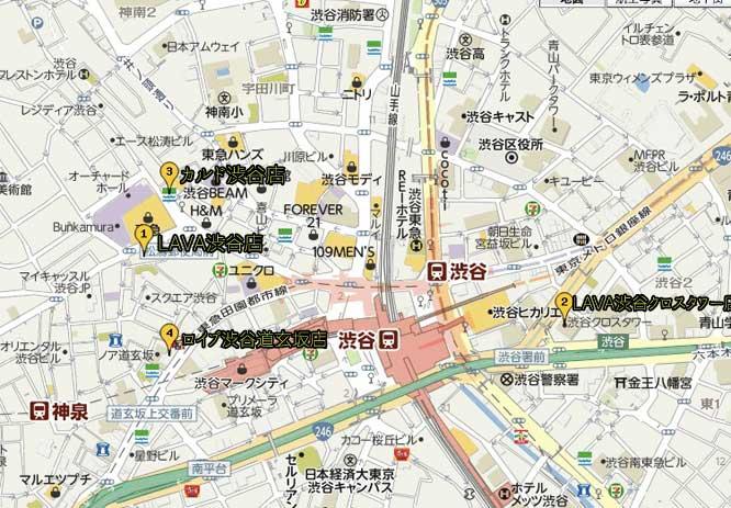 渋谷のホットヨガ教室マップ