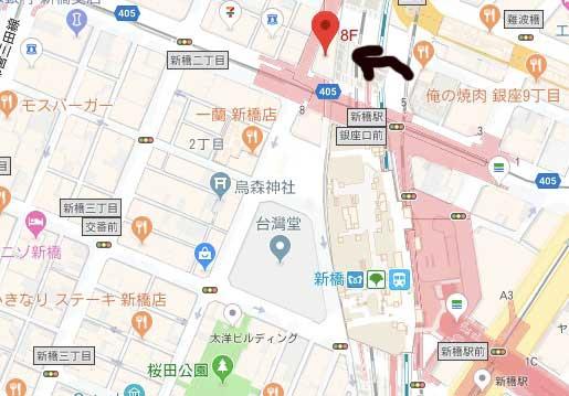 新橋駅のホットヨガマップ