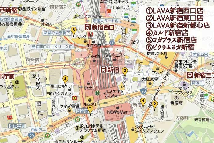 新宿のホットヨガスタジオマップ
