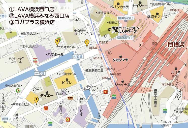 横浜のホットヨガマップ