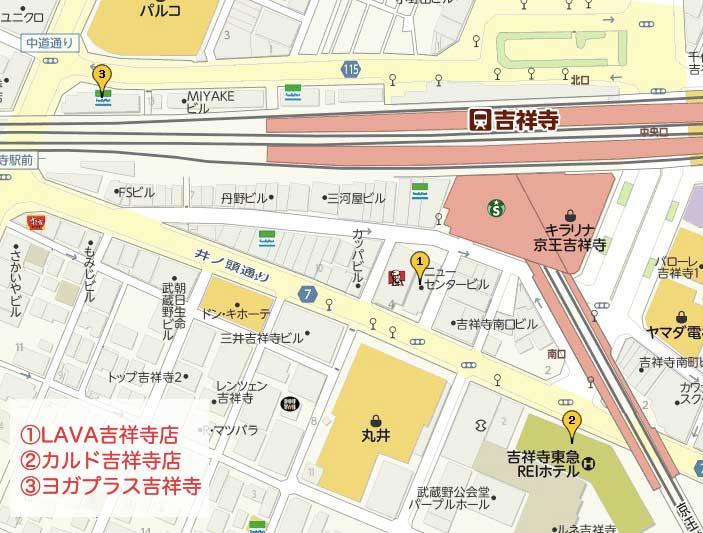 吉祥寺のホットヨガマップ